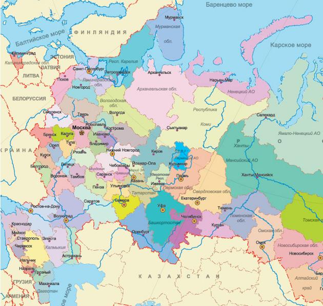 Схема центральной части россии